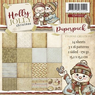 """Yvonne Creations Double-Sided Paper Pack 6""""X6"""" 24/Pkg-Holly Jolly, 16 Designs"""