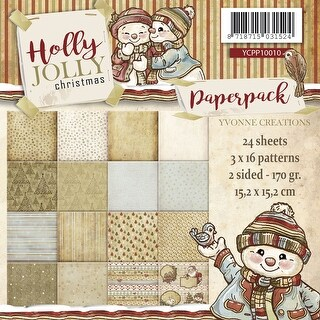 "Yvonne Creations Double-Sided Paper Pack 6""X6"" 24/Pkg-Holly Jolly, 16 Designs