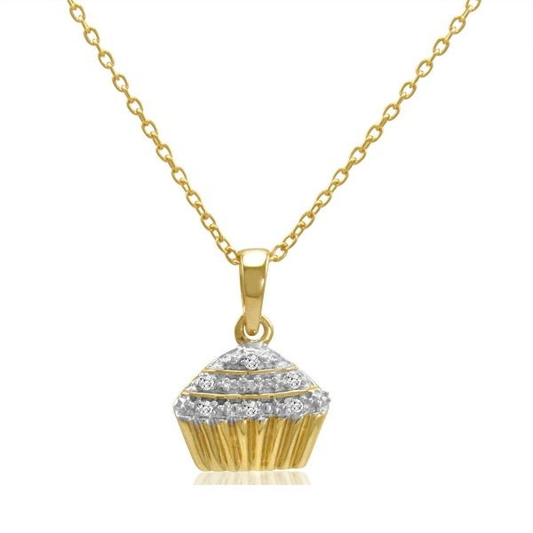 "Amanda Rose Gold over Sterling Silver Diamond Accent Cupcake Pendant- Necklace on an 18"" Chain"