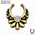 316L Surgical Steel Fake Septum Hanger Flower with Crystal Center (Sold Ind.) - Thumbnail 4