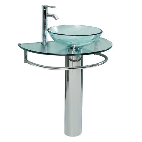 """Fresca CMB1060-V Attrazione 29"""" Glass Pedestal Bathroom Sink with - Stainless Steel"""