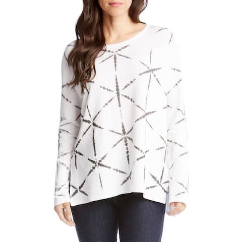 Karen Kane Printed High-Low Long-Sleeve Sweatshirt Medium Off White