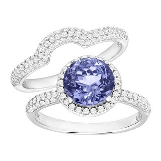 2 1/4 ct Natural Tanzanite & 5/8 ct Diamond Engagement Ring Set in 14K White Gold - Purple