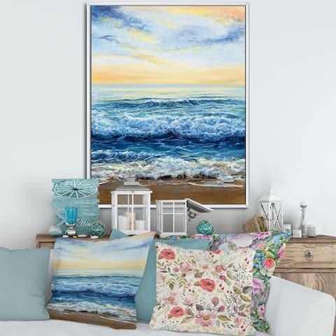 Designart 'Ocean Waves At Dawn' Nautical & Coastal Framed Canvas Wall Art Print