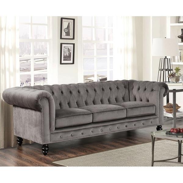 Abbyson Grand Chesterfield Grey Velvet Sofa. Opens flyout.