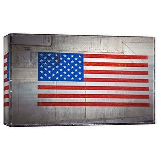 "PTM Images 9-103762  PTM Canvas Collection 8"" x 10"" - ""American Flag on Vintage Aircraft"" Giclee USA Art Print on Canvas"