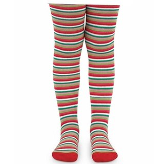Jefferies Socks Baby Girls Red Green White Stripe Holiday Footed Tights