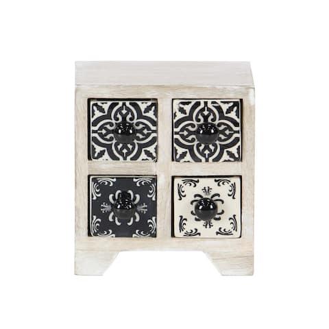 Traditional Square Latticed 4-Drawer Ceramic Jewelry Box