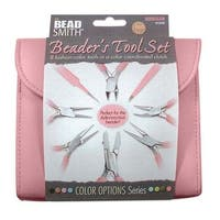 Beadsmith 8 Piece Plier & Tweezer Set Bubblegum Pink Jeweler's Tool Kit With Travel Case
