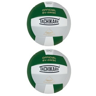 Tachikara SV5WSC Sensi-Tec Composite Volleyball, Green/White/Silver (2 pack)