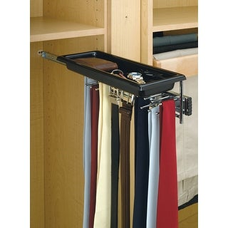 Rev-A-Shelf TBC-14T TBC Series Tie and Belt Rack with Accessory Tray - Chrome