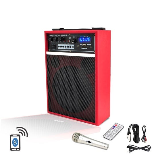 300 Watt Bluetooth 6.5'' Portable PA Speaker System with Built-in Rechargeable Battery, Wired Microphone & FM Radio