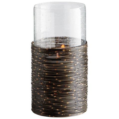 Cyan Design 09702 Luniana Glass and Iron Hurricane Candle Holder - Antique Black