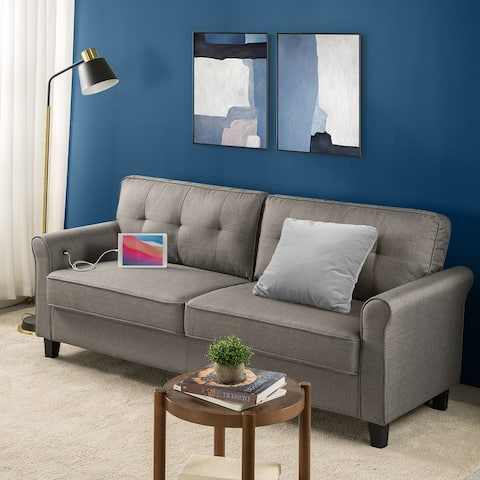 Priage by ZINUS Grey Upholstered Traditional Sofa with USB Ports