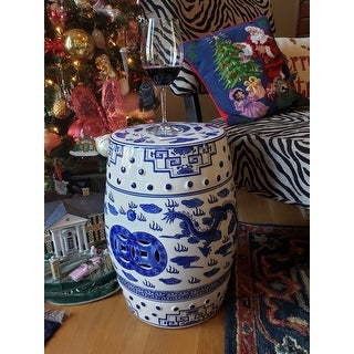 Safavieh Dragon's Breath Chinoiserie Blue Ceramic Decorative Garden Stool