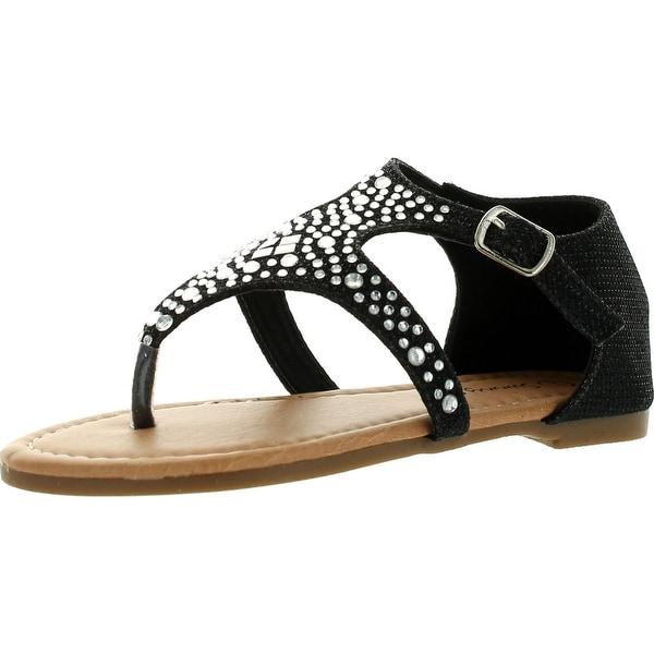 Sunny Day Sandra-19 Kid's Girl Rhinestone T-Strap Cut Out Flat Sandals - Black