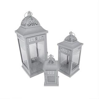"""Set of 3 Grey Garden Getaway Ornate Pillar Candle Holder Lanterns 20.5"""""""