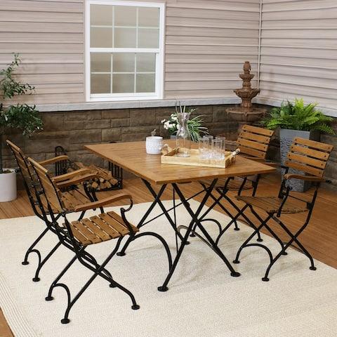 Sunnydaze Essential European Chestnut Wood 5-Piece Folding Table and Chairs Set