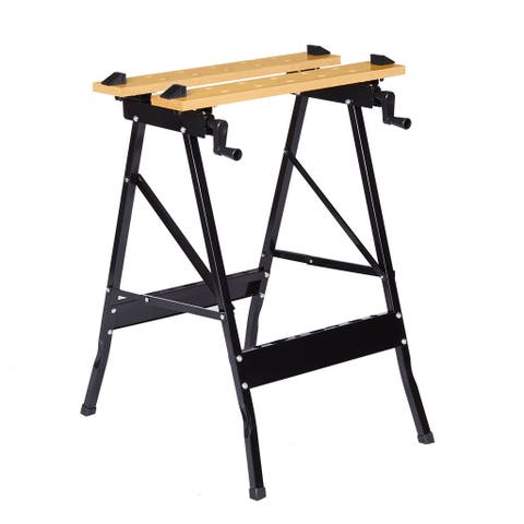 Finether Multi-Purpose Folding Workbench and Vice, Portable Work Table Sawhorse