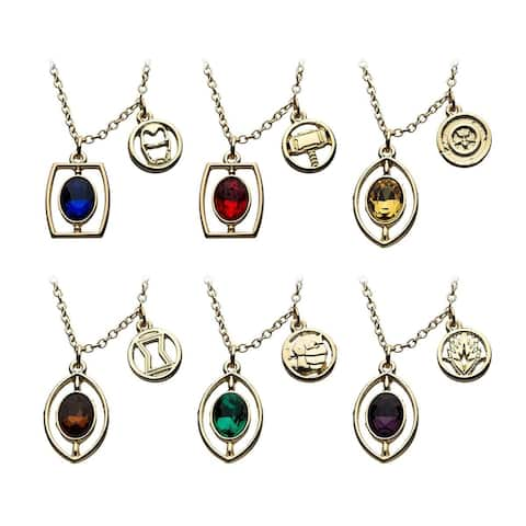 Marvel Infinity Stone Necklace Set 6 Pieces - Gold