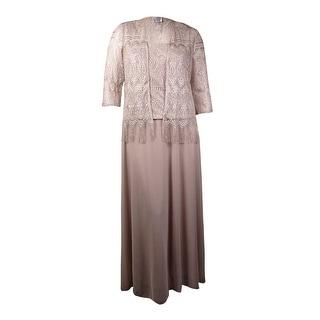 Patra Women's 2PC Metallic Lace Chiffon Dress Jacket Set (16, Oyster)