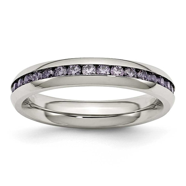 Stainless Steel 4mm February Purple CZ Ring