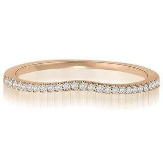 0.15 CT.TW Curved Petite Round Cut Diamond Wedding Ring - White H-I