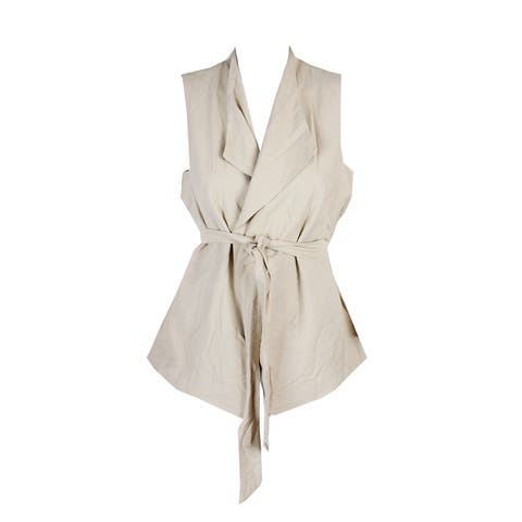 Vince Camuto Tiramisu Brown Belted Wrap Sleeveless Jacket S