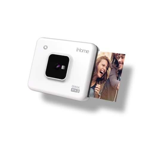 iHome Square 2-in-1 Instant Print Camera + Bluetooth Printer, Square 3x3 inch Printouts (White)