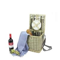 2-Person Hand Woven Warm Gray Natural Willow and Striped Picnic Basket Set with Accessories