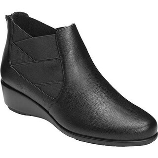 A2 by Aerosoles Women's Above All Ankle Boot Black Faux Leather/Elastic