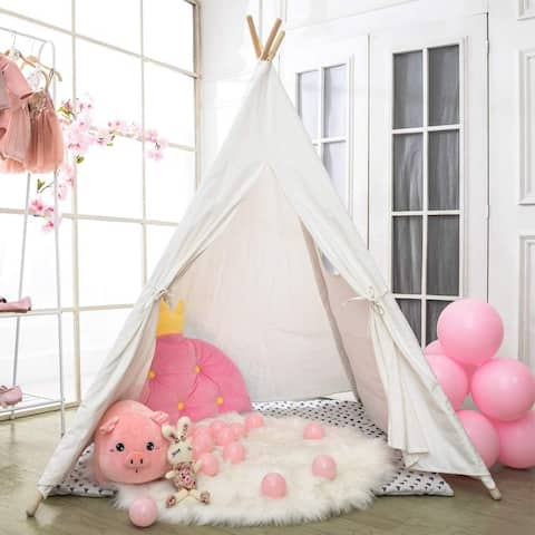 Wooden Poles Kids Playhouse Canvas Teepee Play Tent Raw White