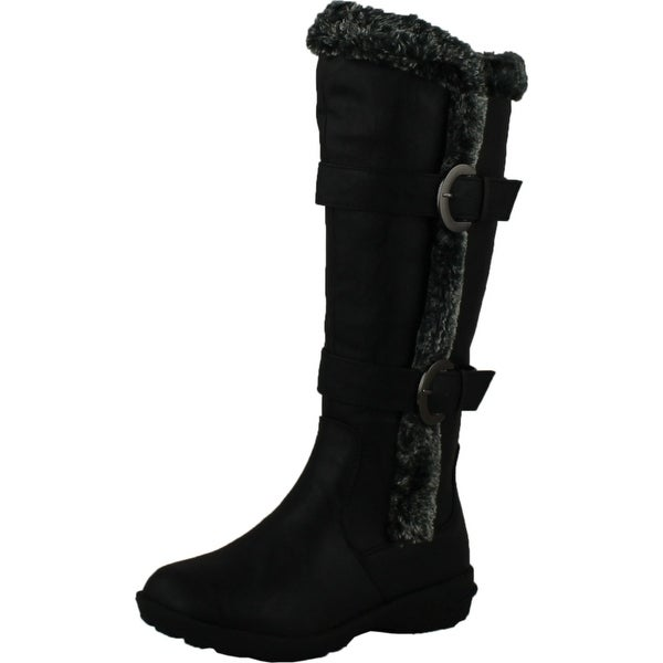 Forever Aura-43 Womens Double Straps Knee High Boots Winter Boots - Black