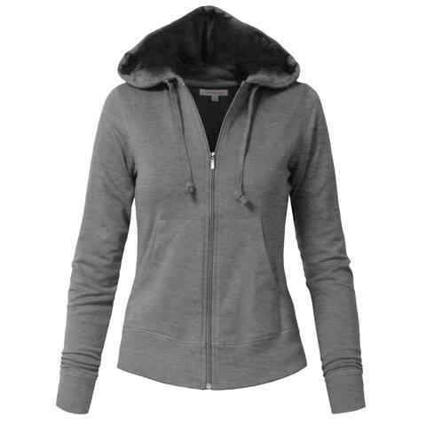 NE PEOPLE Womens Basic Zip Up Hoodie Jacket with Pockets [NEWJ333]