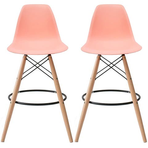 """2xhome Set of 2 25"""" Designer Eiffel Chairs Counter Stools with Backs Side Molded Shell Kitchen Office Dining Dowel Bar Patio"""