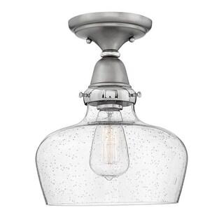 "Hinkley Lighting 67012EN Academy Single Light 10"" Wide Flush Mount Ceiling Fixture with Seedy Glass Shade"
