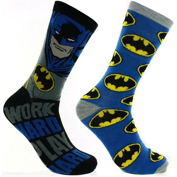 DC Comics Batman Casual Socks, 2 Pack, Shoe Size 6-12