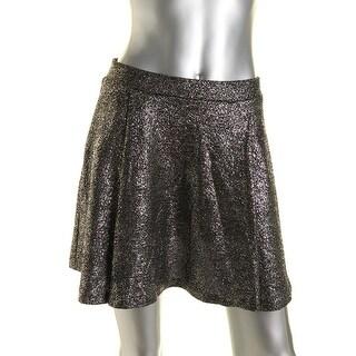 Aqua Womens Metallic Pull On A-Line Skirt