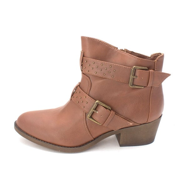 Material Girl Womens BRAVO Leather Almond Toe Ankle Fashion Boots - 7.5