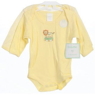Baby Girls Boys Yellow Long Sleeve Cute Animals 2 pcs Bodysuit 0-12M