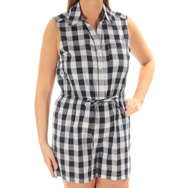 0cfaf6ecfc2 Shop MAISON JULES Womens Navy Tie Check Sleeveless Collared Button Up Romper  Size  L - Free Shipping On Orders Over  45 - Overstock - 21264062