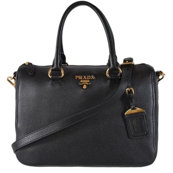 e48670106c07 Prada 1BB023 Black Vitello Phenix Leather Bauletto Boston Bag Satchel Purse