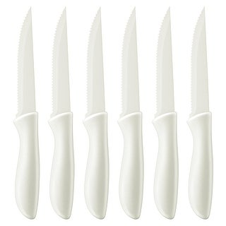 Cuisinart C55-6PCSW Advantage Color Collection 6-Piece Ceramic Coated Steak Knife Set, White