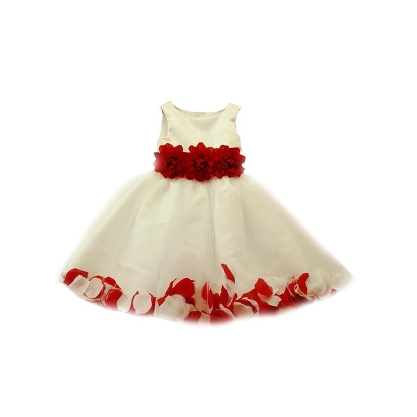 325b0fae31 Shop Big Girls White Red 3D Floral Waist Tulle Petal Junior Bridesmaid Dress  - Free Shipping Today - Overstock - 26458406