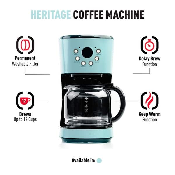 Haden Heritage 12 Cup Programmable Coffee Maker With Strength Control In Light Blue Turquoise Overstock 32051593