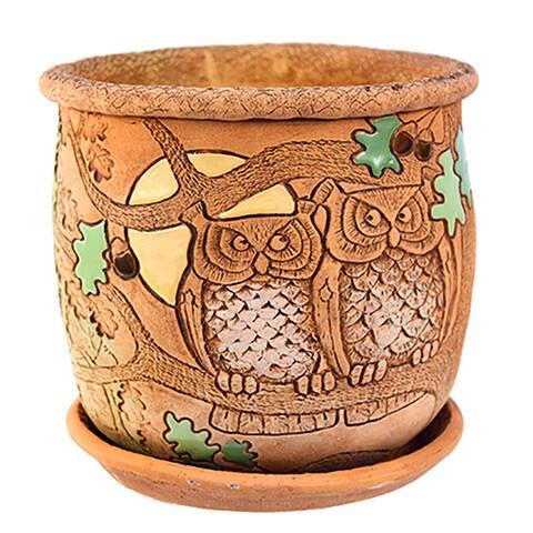 """STP-Goods 5.9"""" Owls Ceramic Flower Pot Planter"""