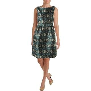 Anne Klein Womens Printed Sleeveless Wear to Work Dress
