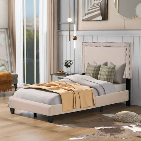 Milan Upholstered Platform Bed with Slats and Nailhead Detail, Twin