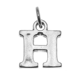 Sterling Silver Alphabet Charm, Initial Letter 'H' 15mm, 1 Piece, Silver