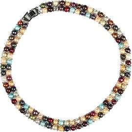 D'AMA Womens Double Strand Freshwater Cultured Pearl Necklace Stainless Steel